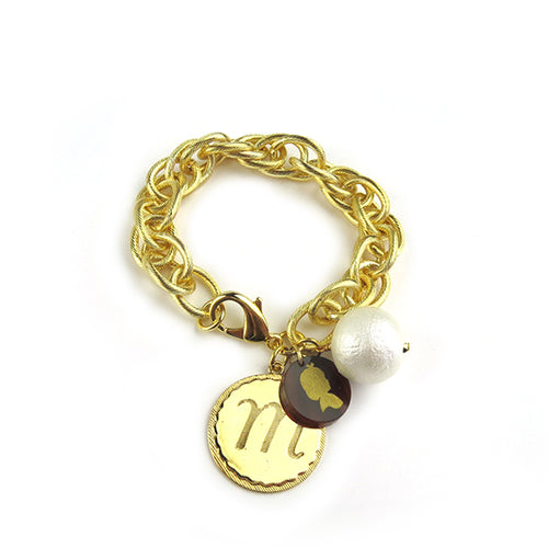 Moon and Lola Preston EDEN Charm Bracelet Cotton Pearl Gold