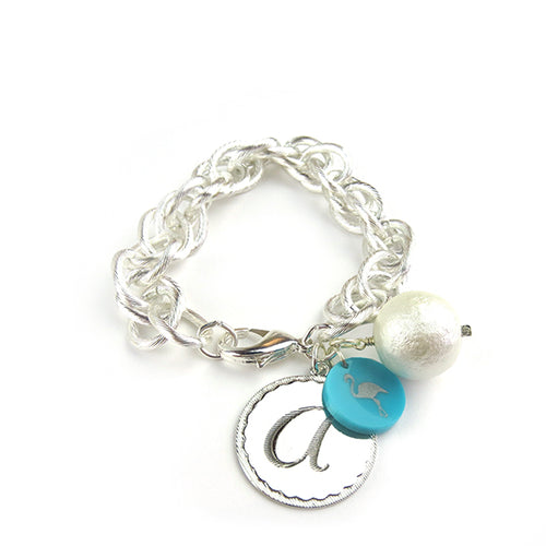 Moon and Lola Preston EDEN Charm Bracelet Cotton Pearl SILVER