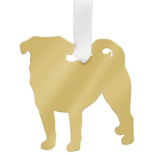 Moon and Lola - Pug Ornament Mirrored Gold