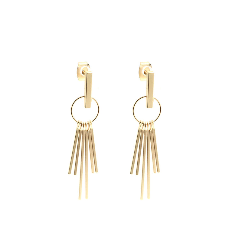 Moon and Lola - Quito Dangle Earrings posts with 6 thin metal dangles hanging from a small ring