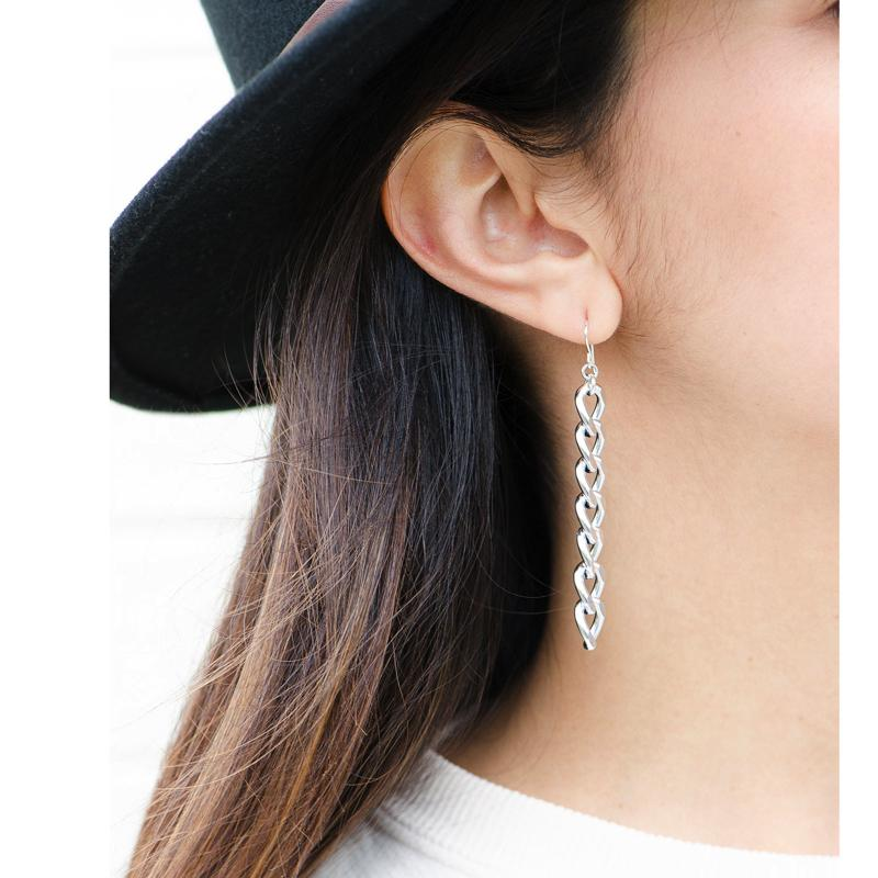 Moon and Lola - Raina Silver Chain Drop Earrings