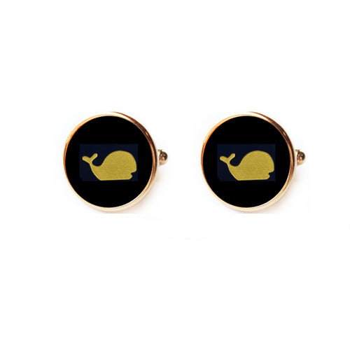 Moon and Lola - Round Vineyard Cuff Links with Whale image on black acrylic