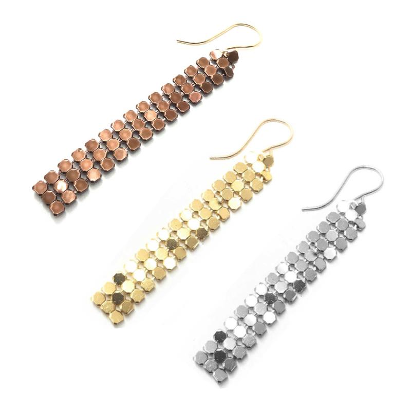 Moon and Lola - Santana Chain Gold, Rose Gold, and Silver Mesh Drop Earrings