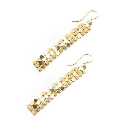 Moon and Lola - Santana Chain Gold Mesh Drop Earrings