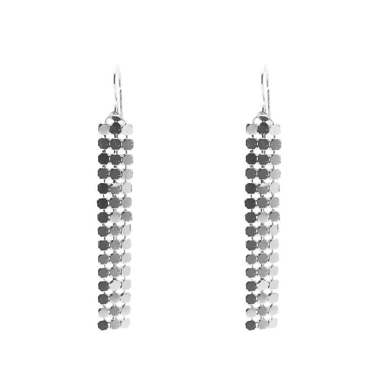 Moon and Lola - Santana Chain Silver Mesh Drop Earrings