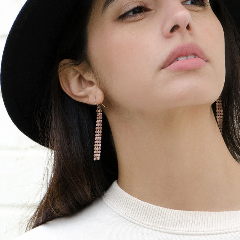 Moon and Lola - Santana Chain Rose Gold Mesh Drop Earrings