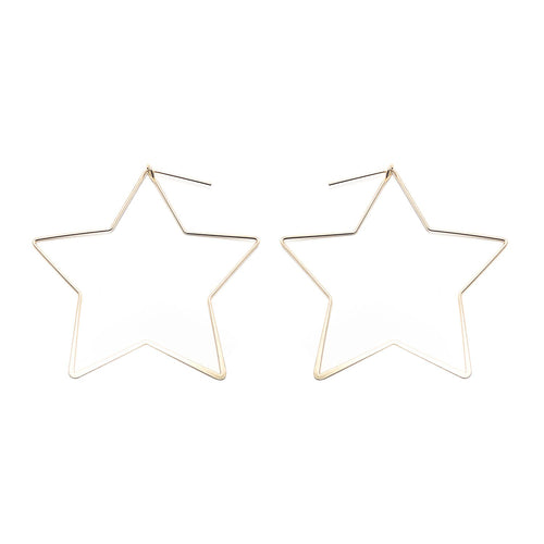 Moon and Lola Seely Hoops thin star shaped hoop styled earrings