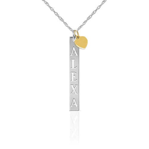 Moon and Lola - Silver Vendome Vertical Pierced Bar Necklace