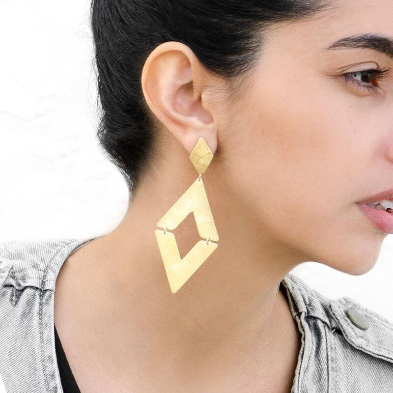 Moon and Lola - Tahiti Earrings brushed gold statement earrings