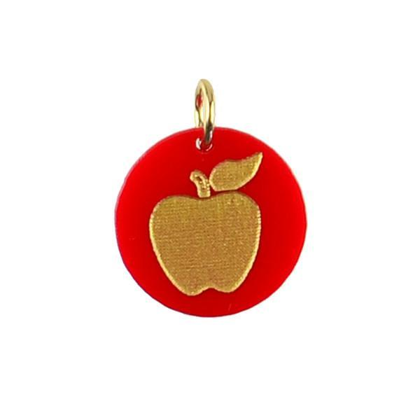 Moon and Lola - Acrylic Eden Charm apple on ruby red acrylic