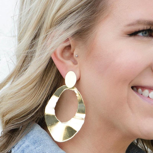 Moon and Lola - Tiago Earrings large open wavy circles dangling from a post