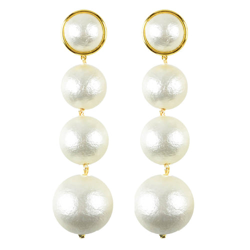 Moon and Lola - Luna Triple Drop Earrings light weight cotton pearl dangles in graduated sizes
