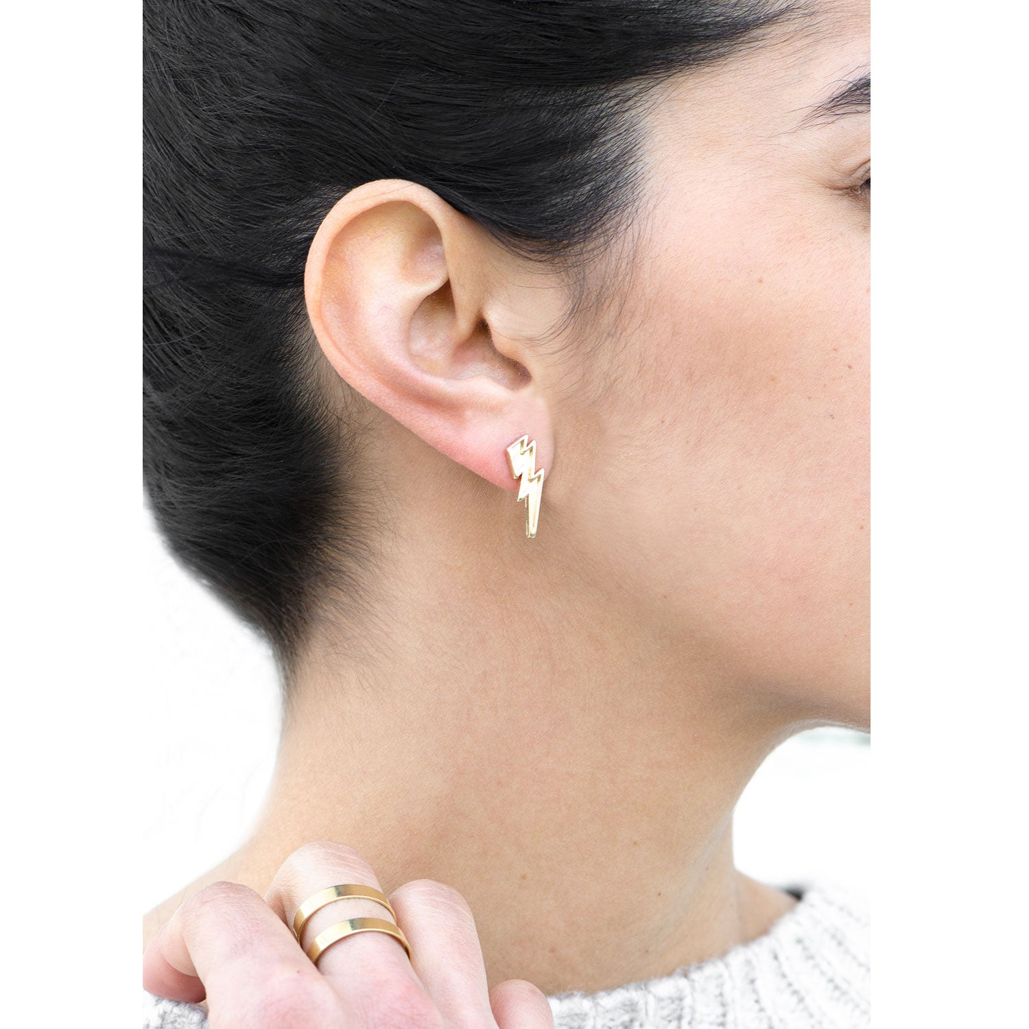 Moon and Lola Veneza Lightning Bolt Gold Stud Earrings