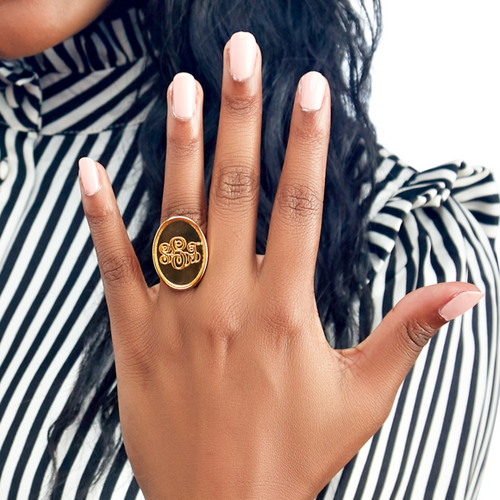 I found this at #moonandlola! - Vineyard Oval Monogram Ring