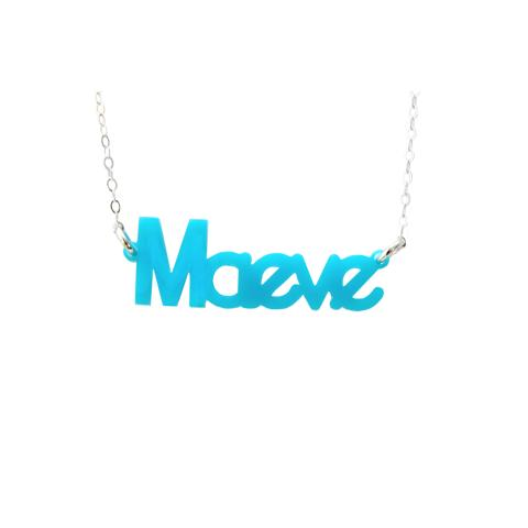Moon and Lola - Zebra Nameplate Necklace in Turquoise Acrylic