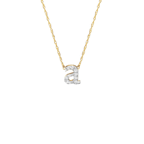 Rimmed Script Monogram Necklace on Greenwich Chain