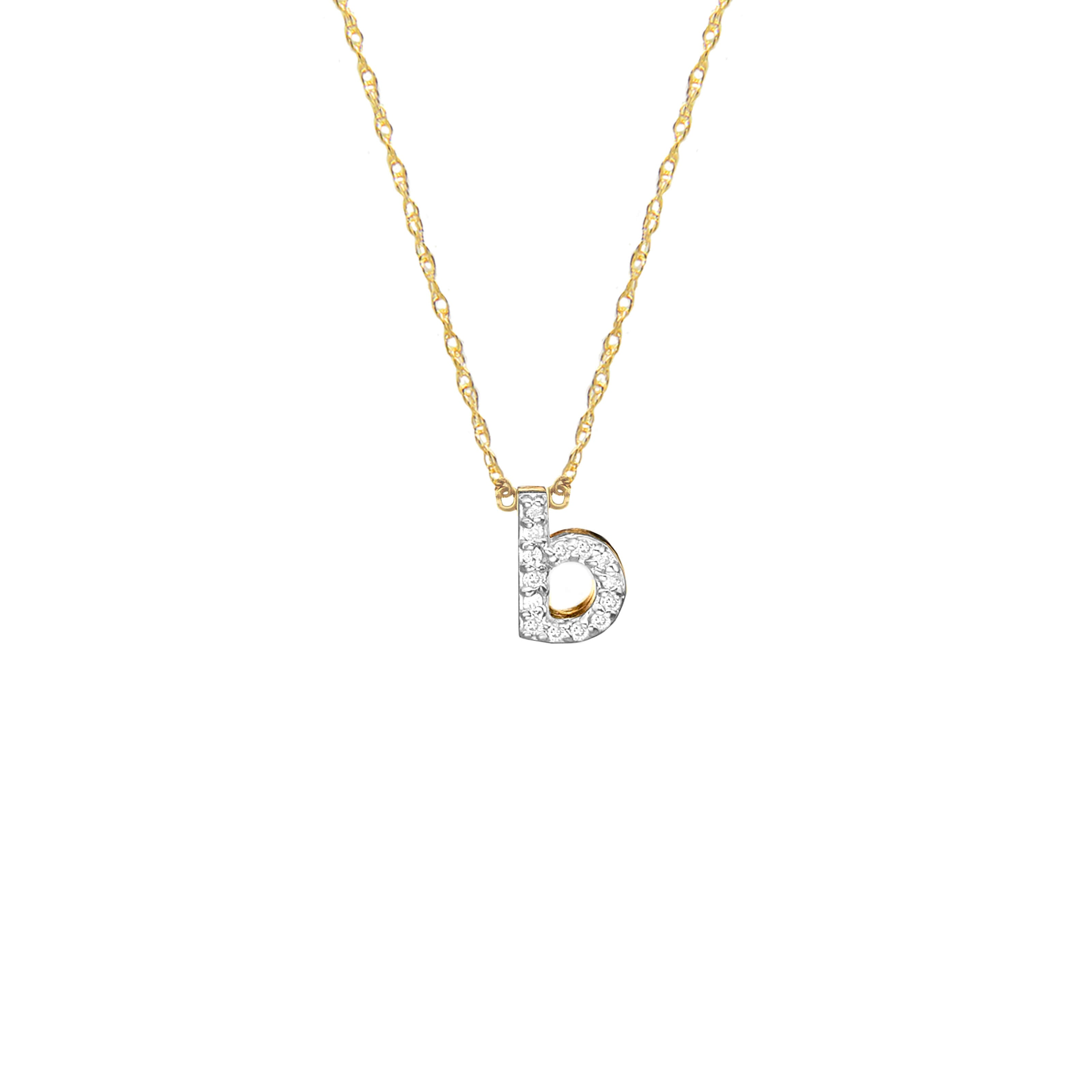 Moon and Lola - Metal Single Letter Diamond Necklace