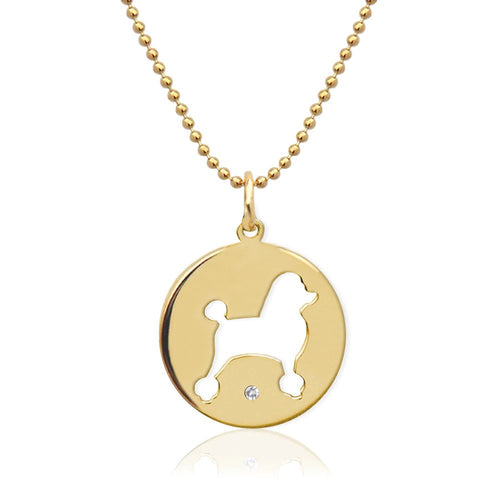 Moon and Lola - Petit Bijou Pierced Disc Necklace With Diamond gold Poodle