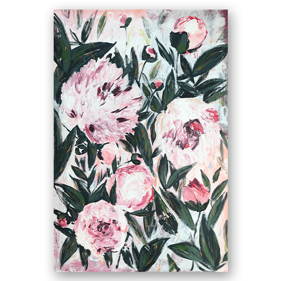 "Moon and Lola - Artist Morgan Rollinson's ""Peonies For Emily"" Painting"
