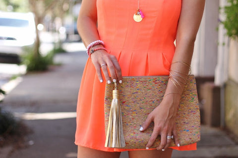Moon and Lola - Spicer Bags Multicolor Cork Carryall Clutch