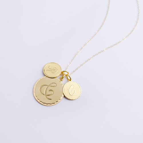 Moon and Lola - Metal Dalton Ampersand Charm with Metal Dalton Single Letter Charms on Apex Chain