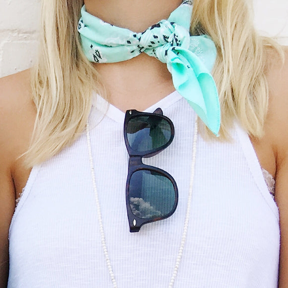 Moon and Lola - Traditional Bandana in Mint tied around neck as a choker