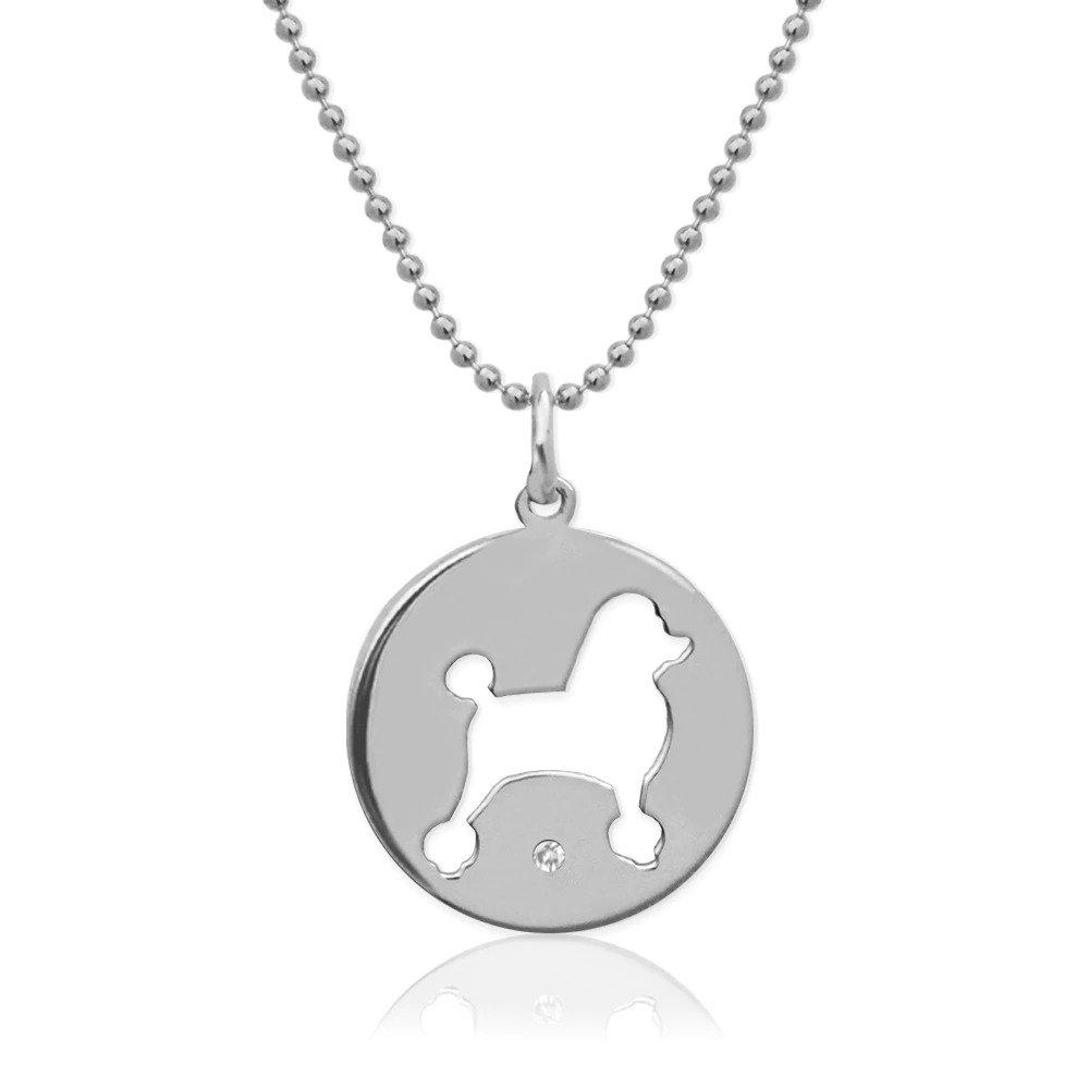 Moon and Lola - Petit Bijou Pierced Disc Necklace With Diamond silver Poodle