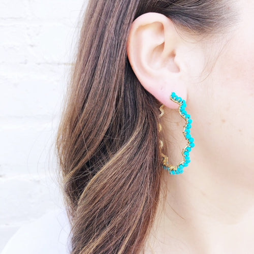 Moon and Lola - Bora Bora Turquoise Hoops