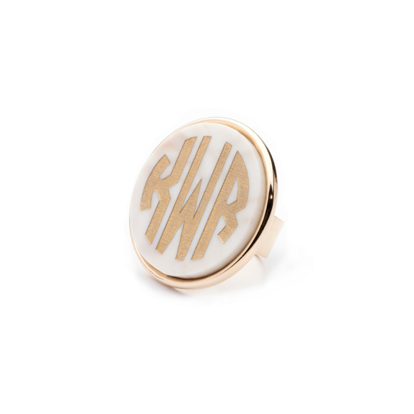 I found this at #moonandlola! - Vineyard Round Monogram Ring Block