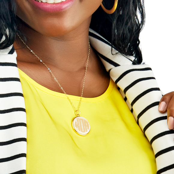 Moon and Lola - Vineyard Round Monogram Necklace