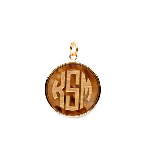 Moon and Lola - Vineyard Round Pendant in Tiger's Eye acrylic with block font monogram