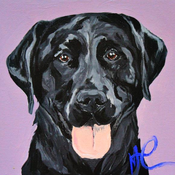 Moon and Lola - Briar the Labrador Painting