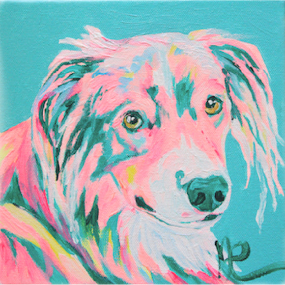 Moon and Lola - Loki James the Australian Shepherd original artwork