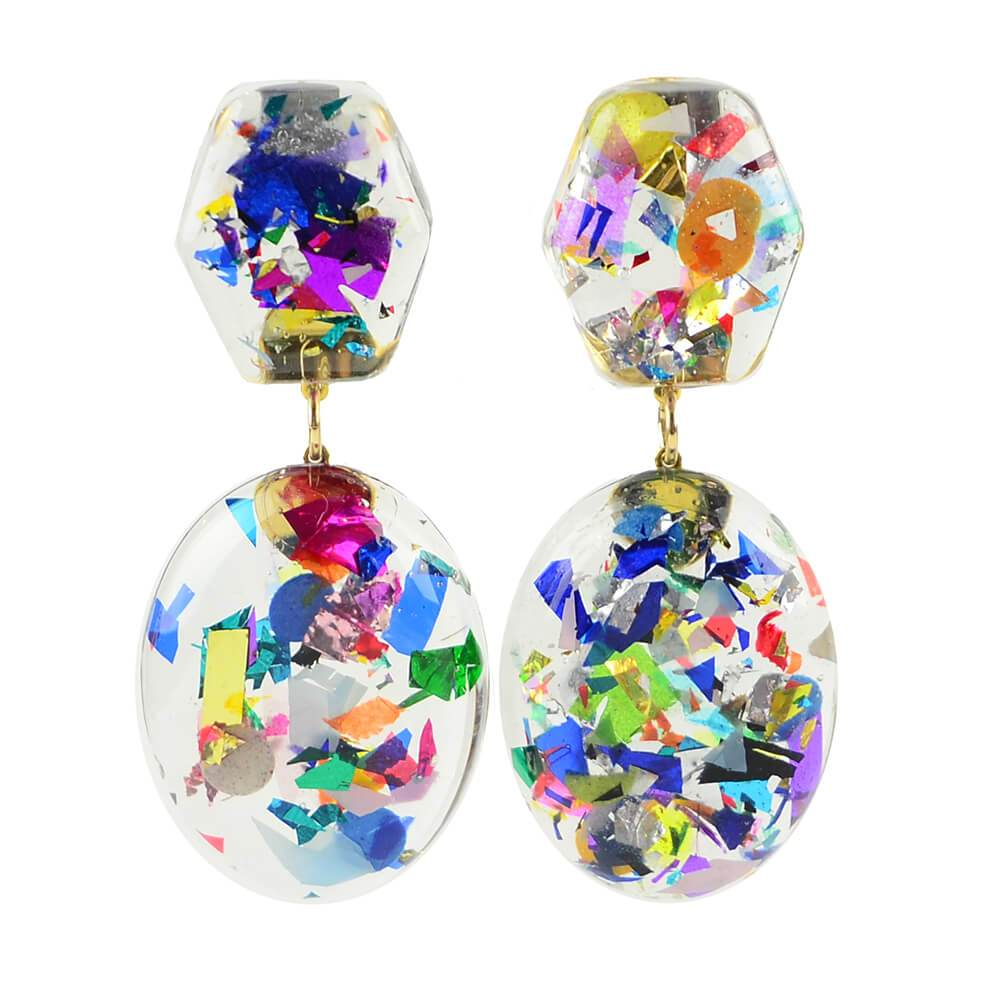 Moon and Lola xx Thimblepress - Confetti Post Drop Earrings