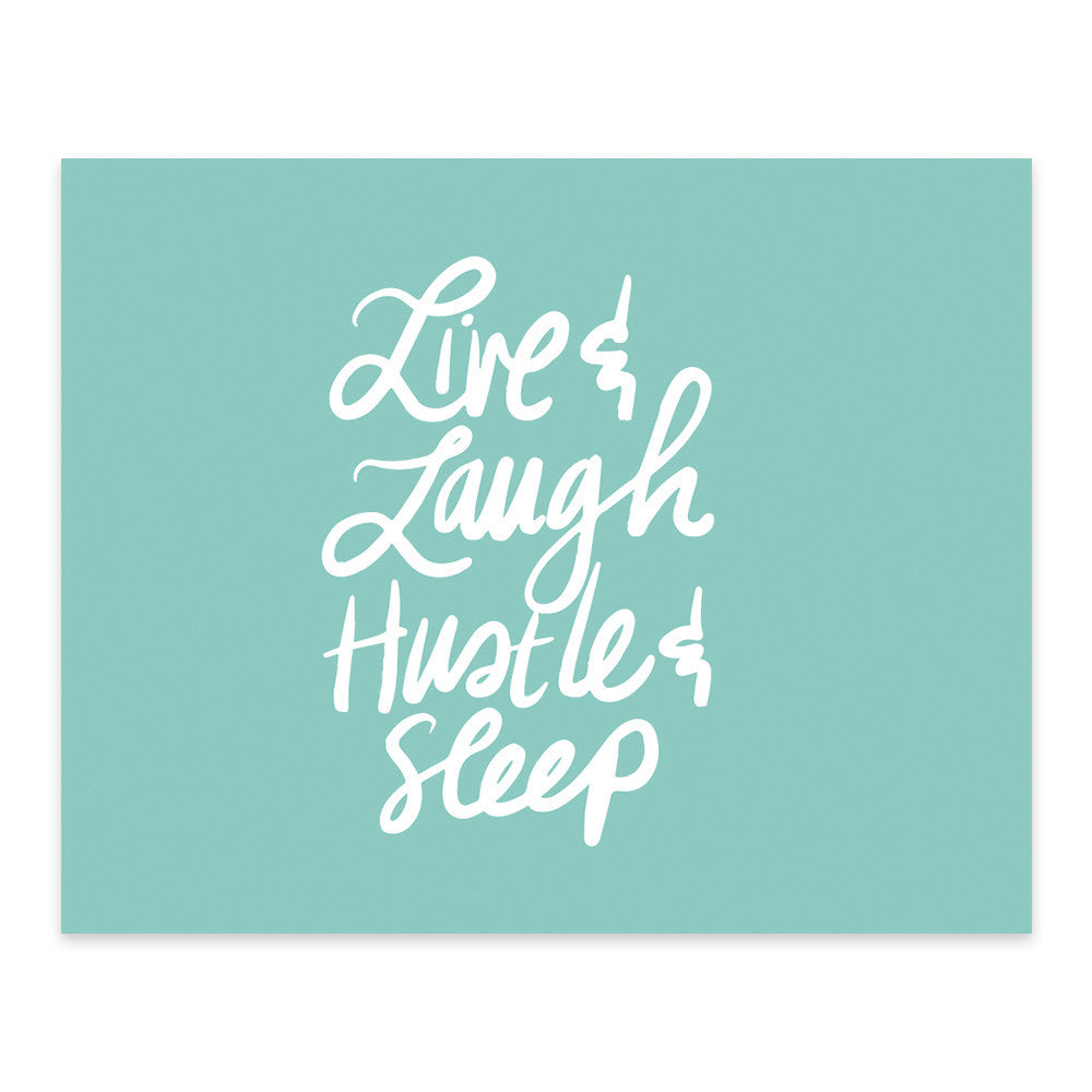 "Moon and Lola xx Thimblepress ""Live Laugh Hustle and Sleep"" note card w/envelope"
