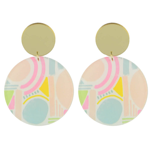 Moon and Lola xx Thimblepress - Patterned Disc Drop Earrings
