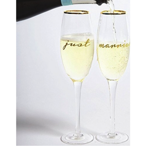 Moon and Lola - 8 Oak Lane Just Married Champagne Glasses