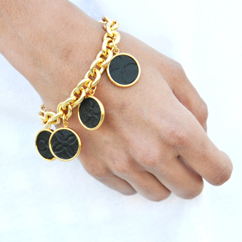 Moon and Lola - Leone black embossed hatherly bracelet