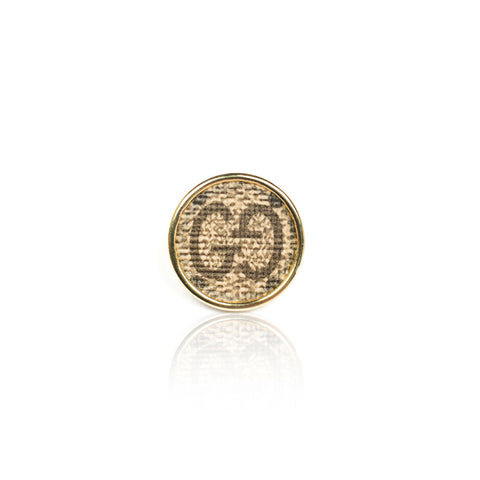 Leone Black Embossed Round Ring
