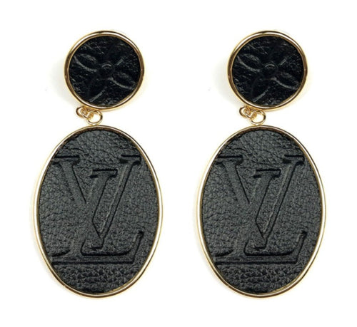 Moon and Lola - Leone Black Embossed Post Drop Earrings