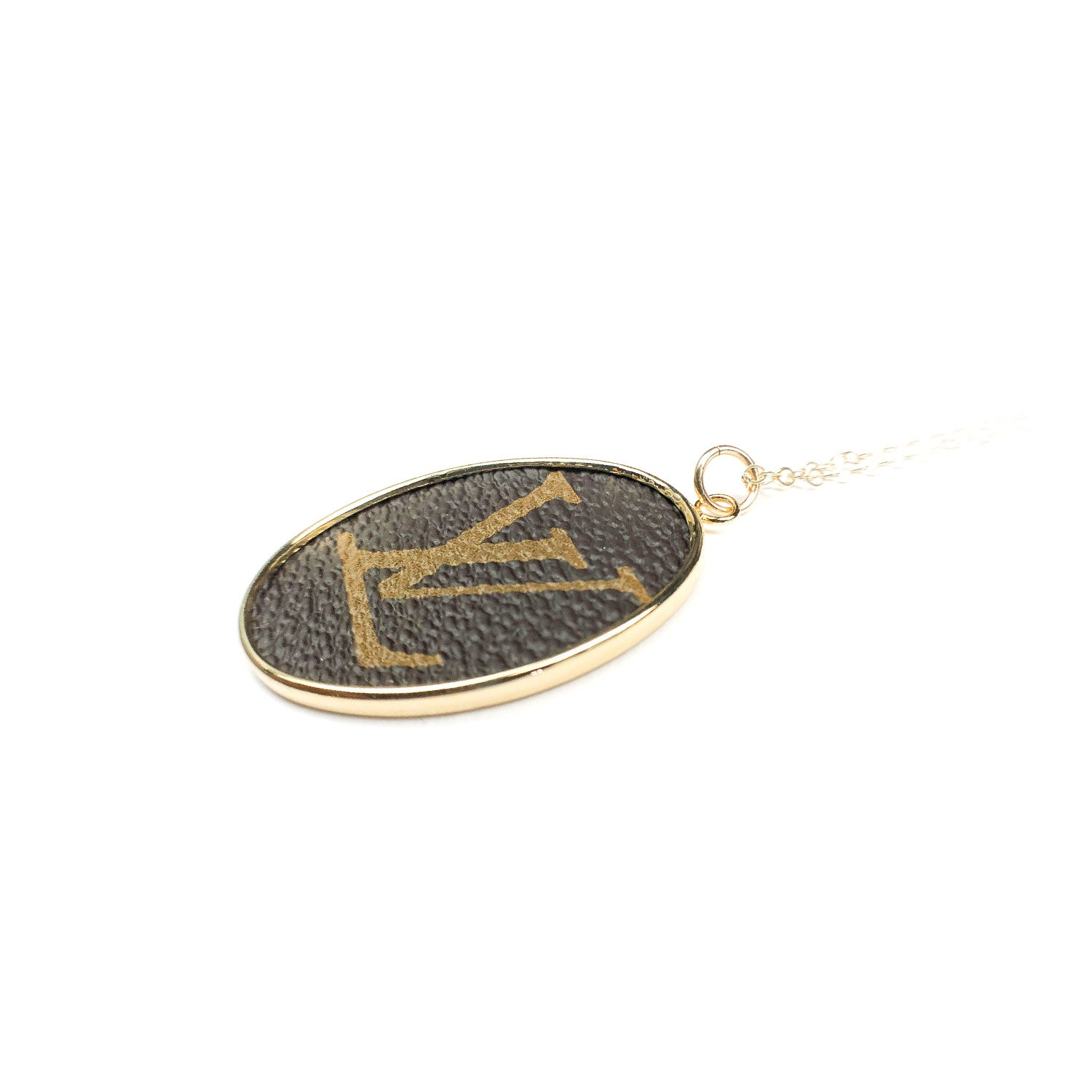 Moon and Lola - Leone Printed Oval Charm on apex delicate chain