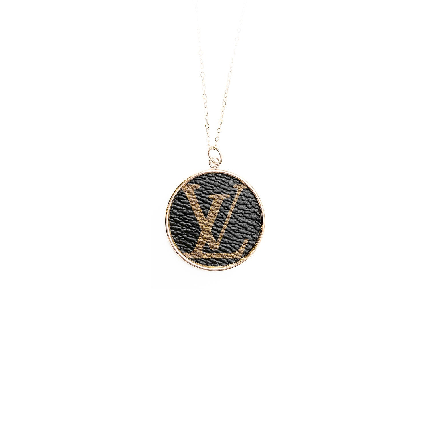 Moon and Lola Leone printed LV monogram round necklace on apex chain