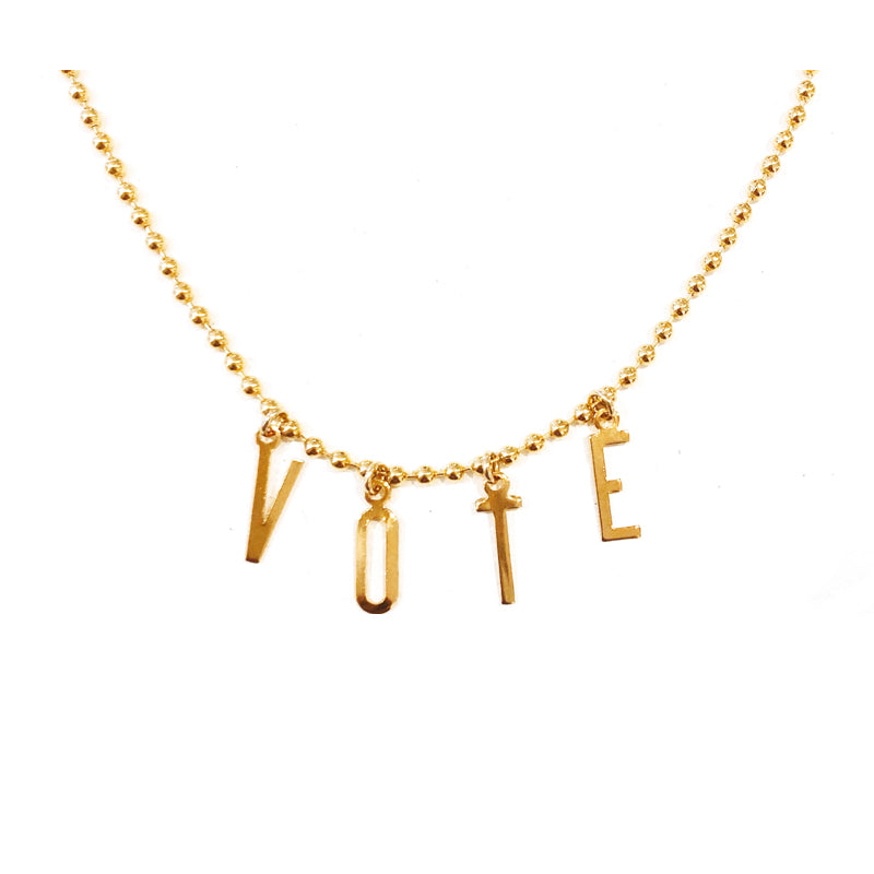 Moon and Lola - Belize Necklace on apex link chain with the word VOTE spelled out