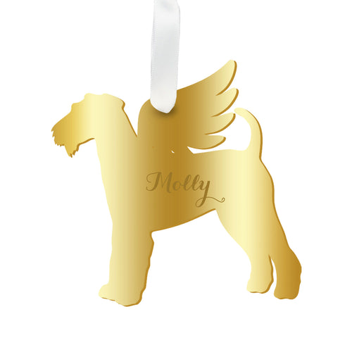 Moon and Lola - Personalized Angel Airedale Terrier Ornament with wings in mirrored gold acrylic