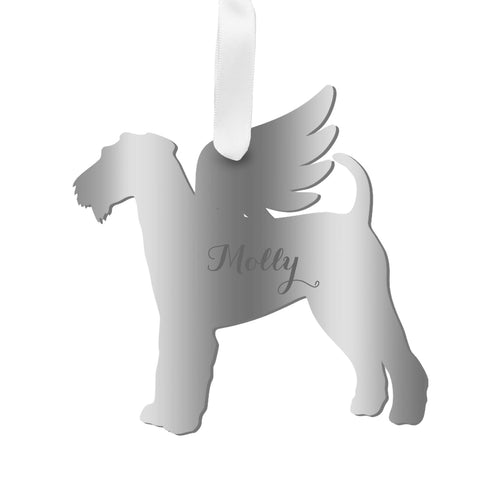 Moon and Lola - Personalized Angel Airedale Terrier Ornament with wings in mirrored silver acrylic
