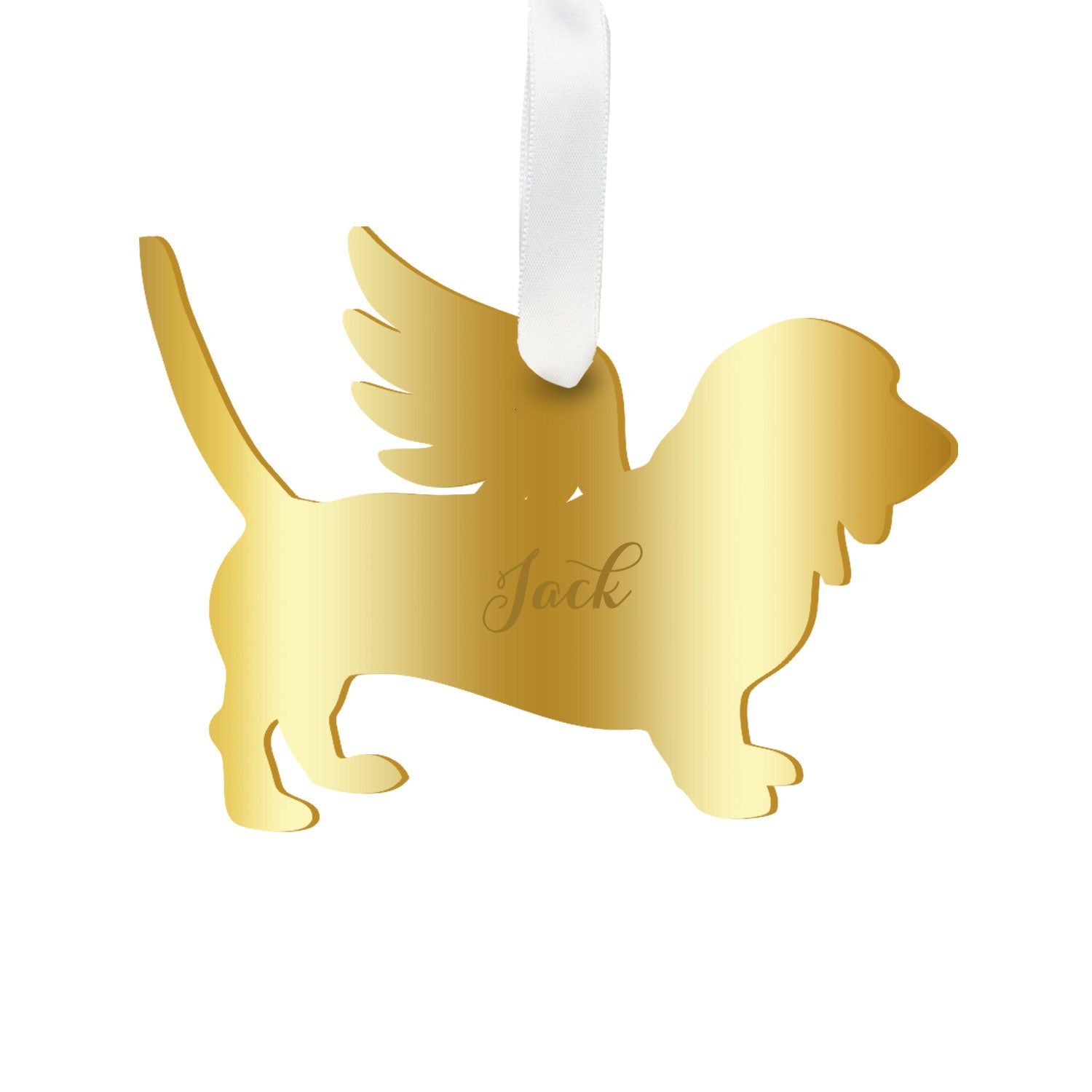 Moon and Lola - Personalized Angel Basset Hound Ornament with wings in mirrored gold