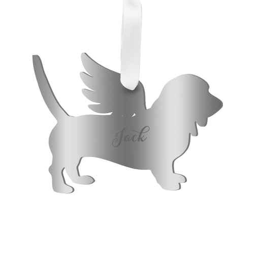 Moon and Lola - Personalized Angel Basset Hound Ornament with wings in mirrored silver