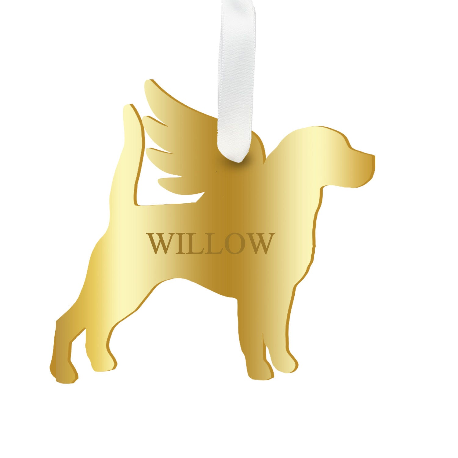 Moon and Lola - Personalized Angel Beagle Ornament with wings in mirrored gold