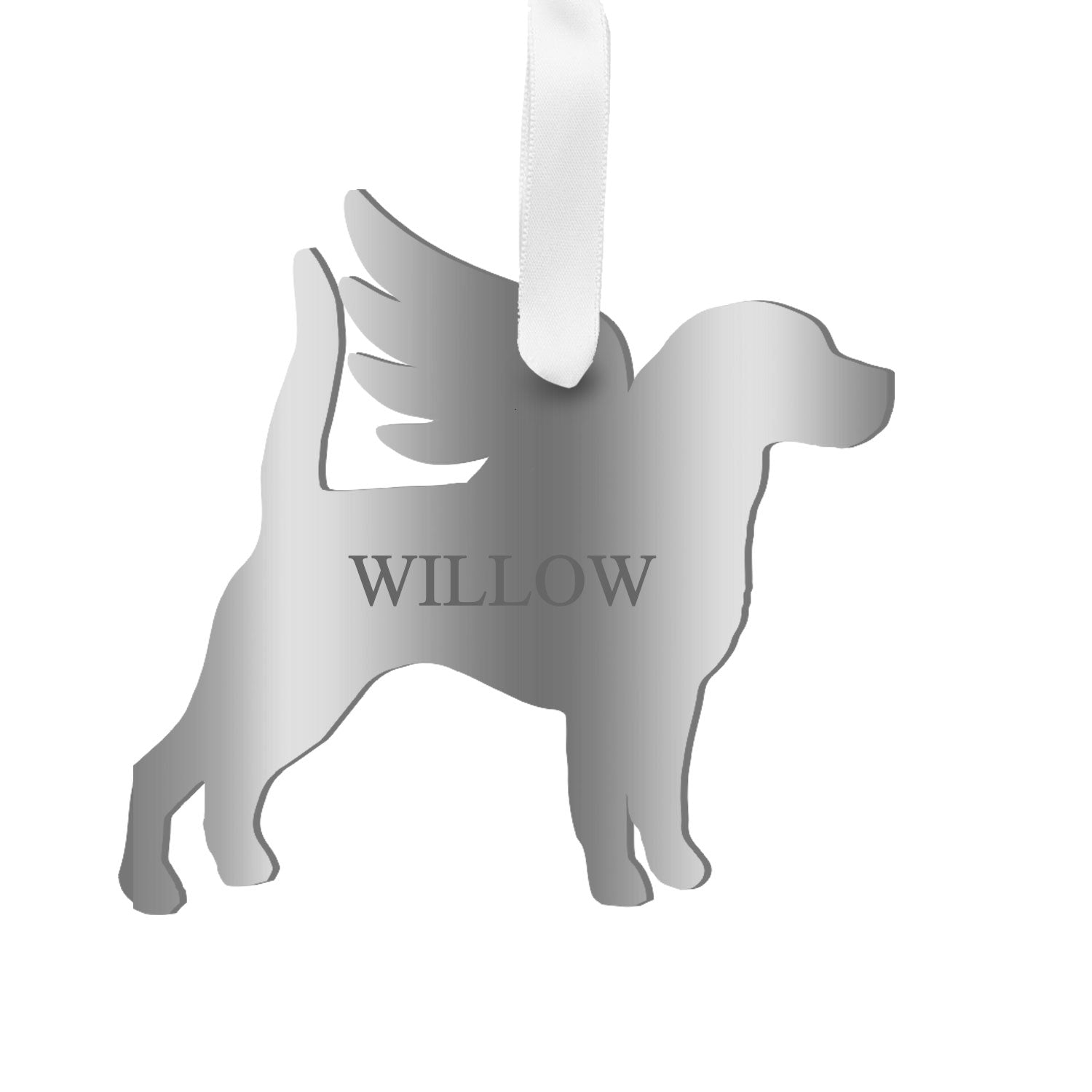 Moon and Lola - Personalized Angel Beagle Ornament with wings in mirrored silvergold