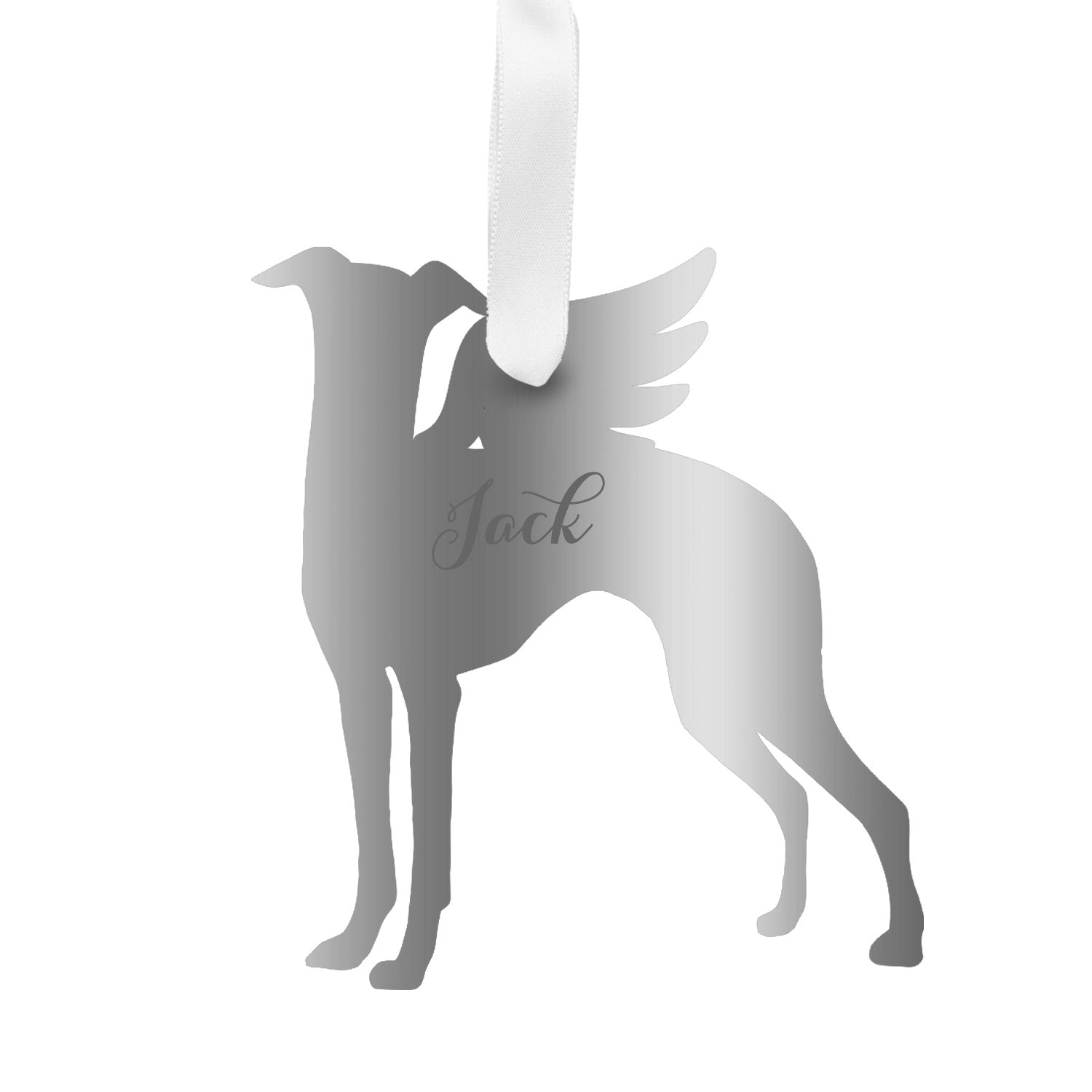 Moon and Lola - Personalized Angel Greyhound Ornament with wings in silver